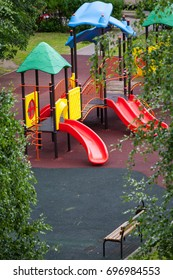 Modern children's playground at a residential block of flats.