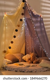 Modern children's room interior with play tent