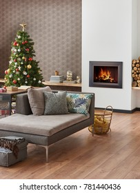 Modern Christmas and new year concept interior living room style fireplace and Christmas tree with ornament decoration wooden and gift home design