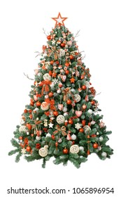 Modern christmas tree isolated on white background, decorated with vintage ornaments; ratan balls, burlap and tartan ribbons, wooden snowflakes,     red berries and balls, red/white jingle bells