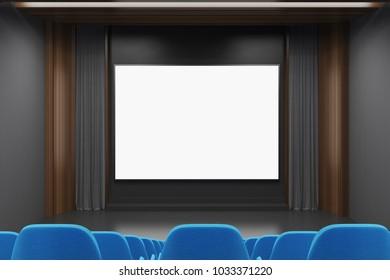 Modern cinema interior with gray and dark wooden walls, and blue chairs. A screen. A rear view. 3d rendering mock up