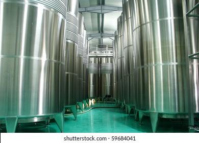 Modern cistern for wine storage.
