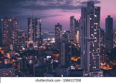modern city aerial at night - skyscraper district skyline of Panama