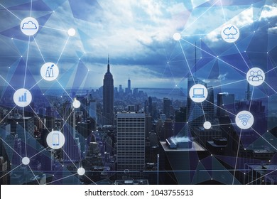 Modern city background with creative media interface. Urbanization and technology concept. Double exposure