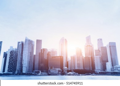 modern city, beautiful office business buildings, urban background