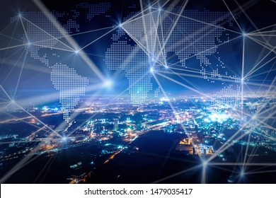 Modern city with big data concept