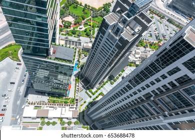 Modern city bird's eye view