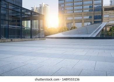 Modern city CBD building plaza at dusk