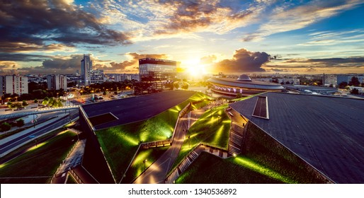 The modern city center of Katowice with green roof of International Congress Centre and the famous Spodek sports hall