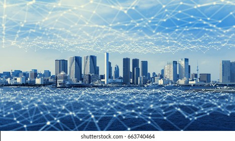 Modern city and communication network, Smart City. Internet of Things. Information Communication Network. Sensor Network. Smart Grid. Conceptual abstract.