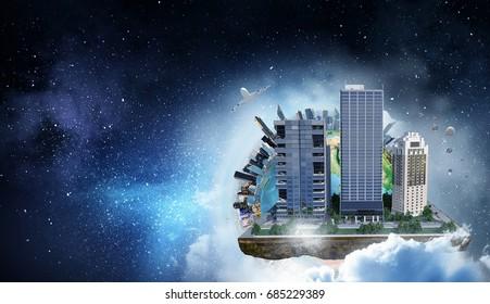 Modern city concept. Mixed media