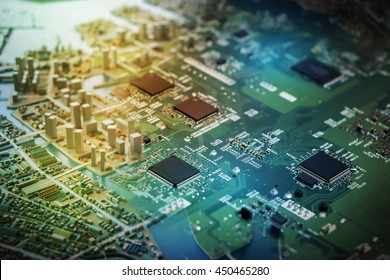 modern city diorama and electric circuit board, digital transformation, abstract image visual