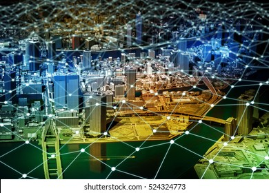 modern city diorama and network grid pattern, IoT(Internet of Things), Sensor Network, Smart Grid, abstract image visual