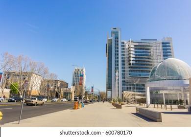 The modern City Hall building of San José, Silicon Valley, California
