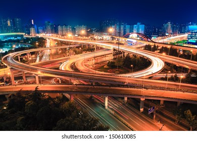 modern city highway overpass at night