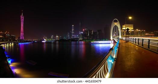 Modern city landmark buildings of panorama night scene in Guangzhou China