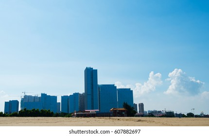modern city landscape with group of highrise.