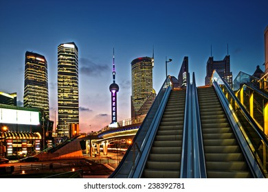 The modern city landscape in the middle of the night