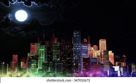 Modern City Lit by Colorful Light Effects at Night 3D Illustration. Concept to any big modern city with the New Year's Eve vivid atmosphere.