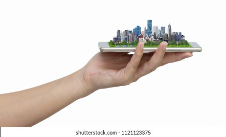 Modern city model on smartphone in women's hand holding isolated on white background with clipping path.