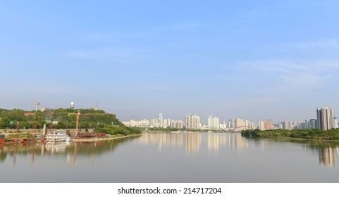 modern city near the river