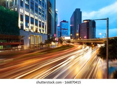 Modern city at night, Hong Kong, China.
