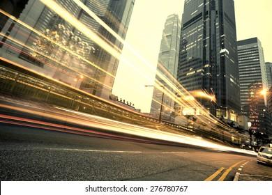 modern city at night  in hongkong