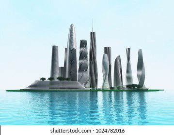 Modern city on an island in the sea. 3d rendering image