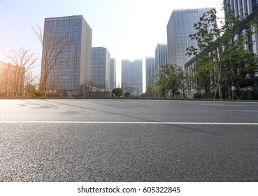 modern city road and building