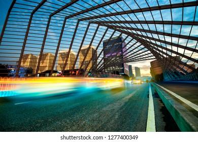 modern city of shanghai at night