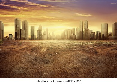 Modern city showing the effect of climate change impact to the dry land
