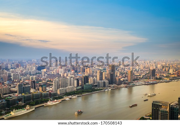 modern city skyline aerial view with huangpu river at dusk,shanghai,China