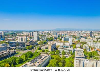 Modern city skyline, business center of Zagreb, Croatia