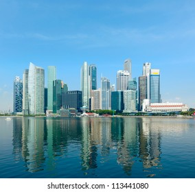 Modern city skyline of business district downtown in day