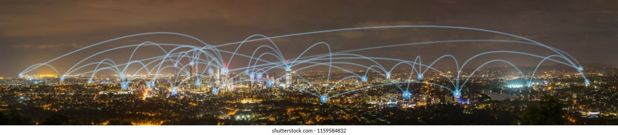 Modern city skyline, City and communication network concept, panorama
