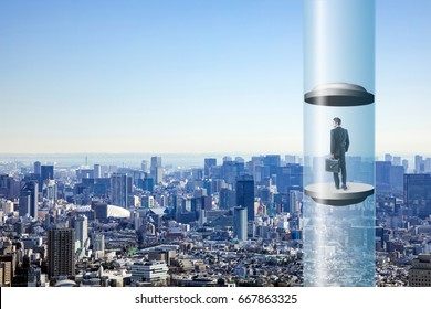 modern city skyline and futuristic elevator. space elevator concept.