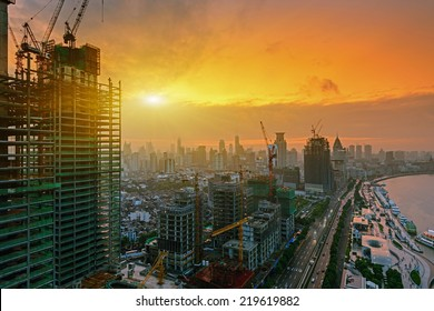 modern city at sunrise,Shanghai skyline