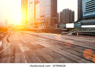 modern city with sunset