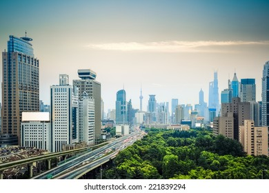 modern city traffic and shanghai skyline , China
