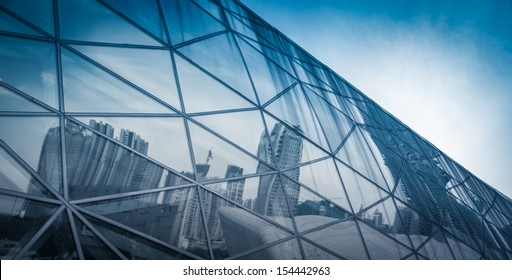 modern city urban futuristic architecture reflection in glass