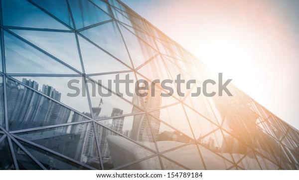 modern city urban futuristic architecture reflection in glass