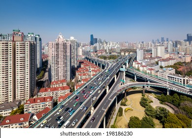 modern city viaduct junction by fisheye view at dusk in shanghai