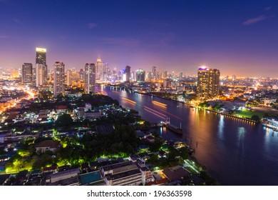 Modern city view of Bangkok cityscape at nighttime