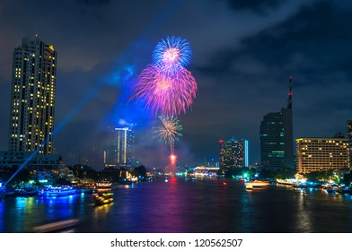 Modern city view of Bangkok, Thailand. Cityscape. Fireworks.