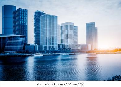 modern city waterfront downtown skyline,China