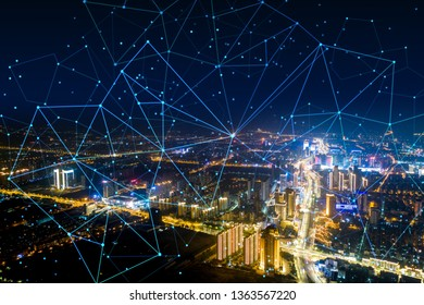 Modern city with wireless network connection concept  - Shutterstock ID 1363567220