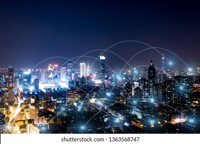 Modern city with wireless network connection concept