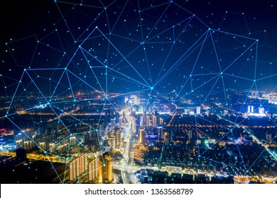 Modern city with wireless network connection concept  - Shutterstock ID 1363568789