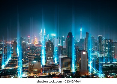 Modern city with wireless network connection concept , abstract communication technology concept .