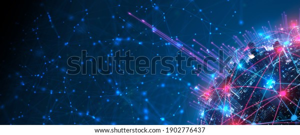 Modern city with wireless network connection and city scape concept.Wireless network and Connection technology concept with city background at night.